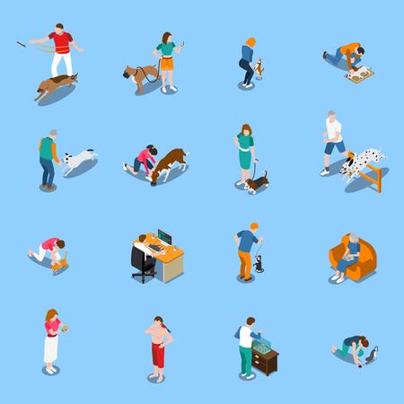 Hombres y mujeres con sus mascotas conjunto isométrico aislado sobre fondo azul ilustración vectorial 3d