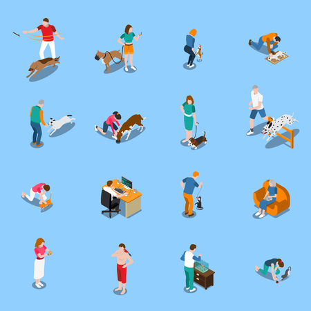 Male and female people with their pets isometric set isolated on blue background 3d vector illustration