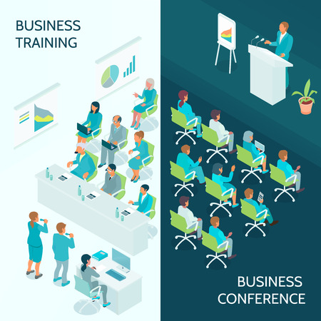 Business education vertical isometric banners with lecturer and auditorium during conference and corporate training isolated vector illustration