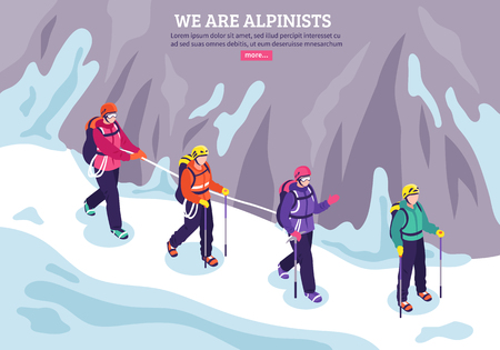 Mountaineering winter background with expedition of alpinists going in conjunction on snow isometric vector illustration  Vectores