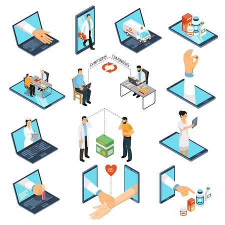 Online medical consultations diagnosis treatment from professional doctors network with laptop, smartphone isometric icons collection vector illustration Ilustração