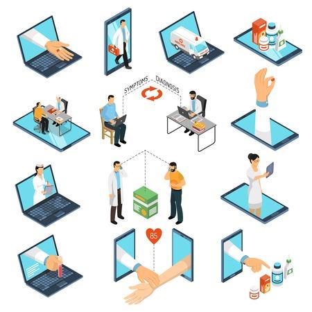 Tratamiento de diagnóstico de consultas médicas en línea de la red de médicos profesionales con computadora portátil, ilustración de vector de colección de iconos isométricos de teléfono inteligente