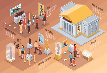 Museum isometric infographics with information about artifacts, historical exhibition, excursion on brown gradient background vector illustration  Vettoriali