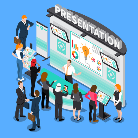 Presentation with infographic elements during exhibition, business people, computer technologies isometric composition on blue background vector illustration