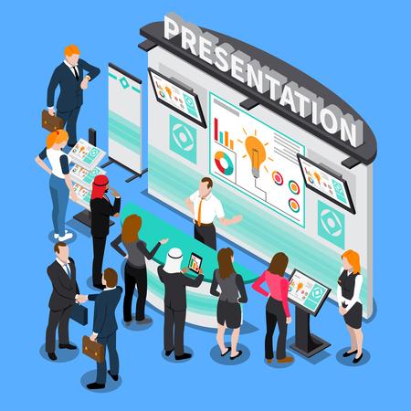 Presentación con elementos infográficos durante la exposición, gente de negocios, composición isométrica de tecnologías informáticas en la ilustración de vector de fondo azul