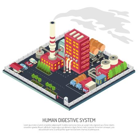 建物、パイプ、産業機器、アクセス制御付きフェンス、駐車場、輸送、ベクトルイラストを含む工場等位組成  イラスト・ベクター素材