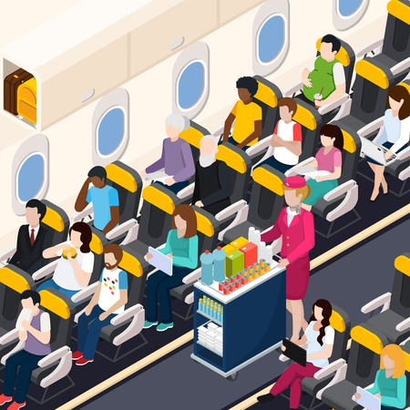 Airplane passengers and crew isometric composition with food and drinks symbols vector illustration. Illustration