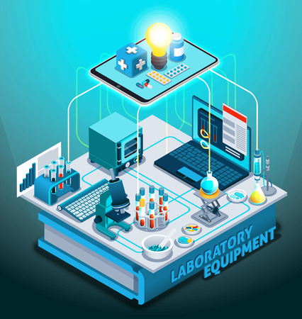 Laboratory equipment isometric composition on gradient background with flasks, laptop, microscope, medicines, book vector illustration.