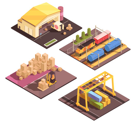 Isometric logistic design concept with set of four isolated sort facilitiy buildings appropriate for different transportation modes. Illustration