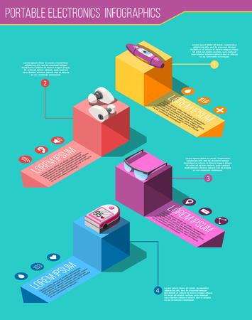 Portable electronics isometric infographics on turquoise background