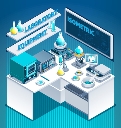 White laboratory table with scientific equipment, substances in beakers, isometric composition on blue background vector illustration
