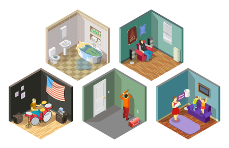 Neighbors relations set of isometric compositions with repair, flooding, spoiled kids, loud music isolated vector illustration. Archivio Fotografico - 95926709