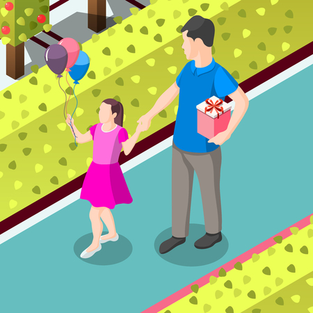 Father and daughter with gifts for birthday during stroll in park isometric background vector illustration.