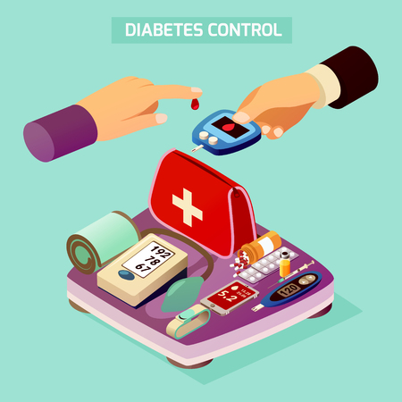 Diabetes control isometric composition on turquoise background with sugar measuring process, devices and medications, scales vector illustration. 免版税图像 - 95926711