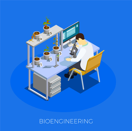 GMO bio engineering isometric composition on blue background with scientist during work with tomato samples vector illustration