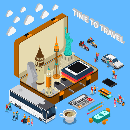 Travel isometric composition on blue background with landmarks in suitcase, tourists, money, mobile devices, vehicles vector illustration