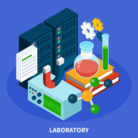 Science isometric concept with laboratory symbols on blue background vector illustration Stock Vector - 96018002