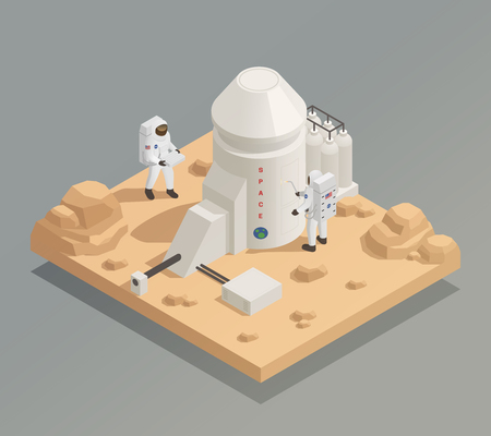 Life in universe isometric composition with astronauts in spacesuits working outside facility on another planet vector illustration.