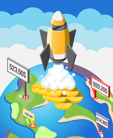 Crowdfunding startup project isometric composition with financial investments, international fund raising 3d vector illustration Çizim