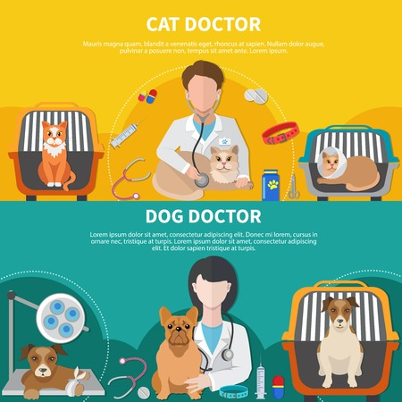 Animal care professionals for cat dog veterinarian doctor 2 horizontal banners with pet crates isolated vector illustration