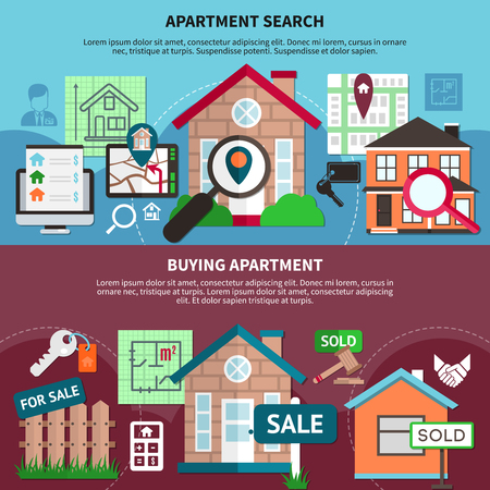 Flat real estate composition set with apartment search and buying apartment descriptions vector illustration