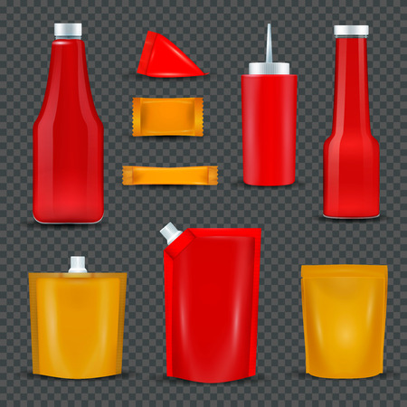 Sauce bottles dispensers squeeze pouch packages realistic red and yellow items black transparent background isolated vector illustration.