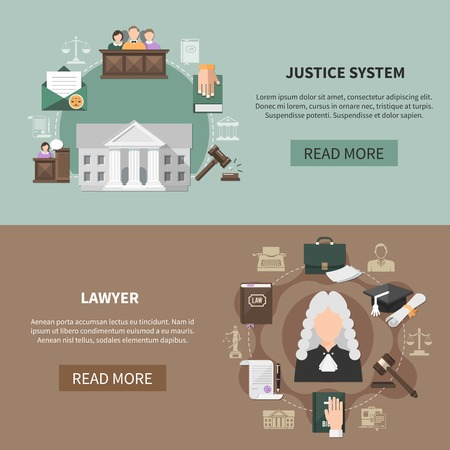 Two horizontal law banners with images of judicial items court house text and read more button vector illustration Иллюстрация
