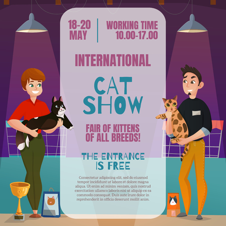 International all breeds cat show announcement poster with dates time place and 2 participants cartoon vector illustration Illustration