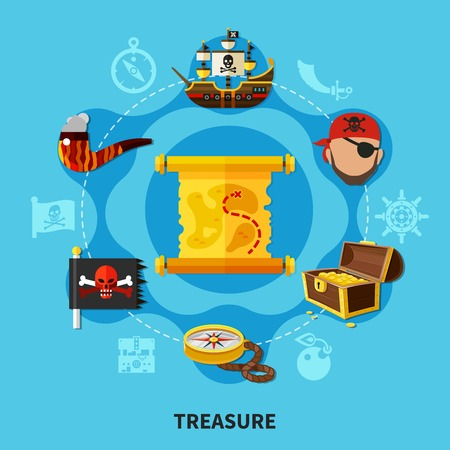 Pirate treasure with chest of gold, map, jolly roger round cartoon composition on blue background vector illustration.