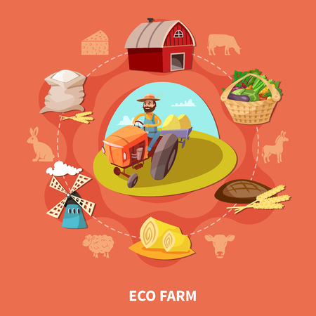 Cartoon farm colored composition with ecology farm headline and different elements on the theme combined in circle vector illustration.