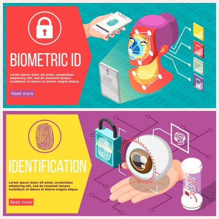 Biometric id horizontal banners with retina recognition, access control by facial geometry and fingerprint isolated vector illustration