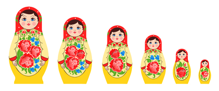 Matryoshka semyonovskaya family set of nesting dolls flat isolated images of different size with identical coloring vector illustration.
