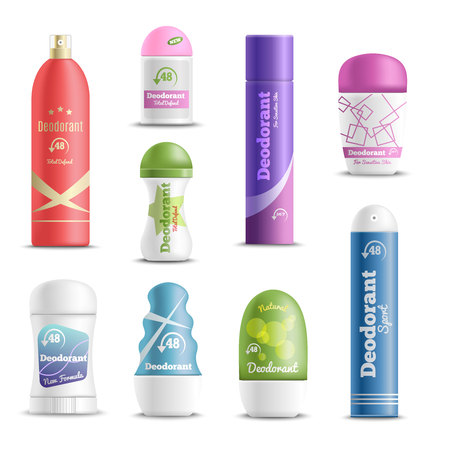 Deodorants spray sticks and roll-on types antiperspirant personal hygiene products realistic objects set isolated vector illustration.