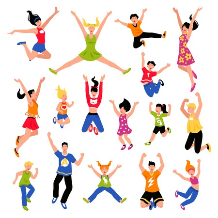 Happy jumping kids teens and adult people of  different gender and age isometric colored set isolated vector illustration