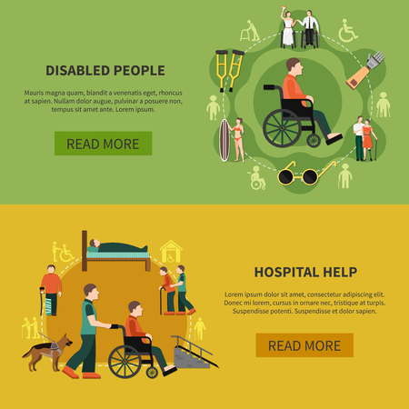 Two flat horizontal disabled person banner set with hospital help and disabled people descriptions vector illustration