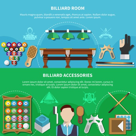 Horizontal banners set with player, billiard room, game accessories isolated on green and blue background vector illustration