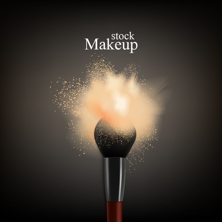 Makeup brush powder realistic background with text and brush with colourful splash of loose powder.