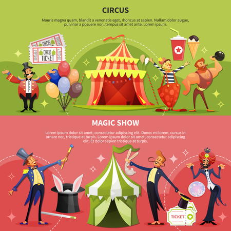 Two horizontal and colored circus cartoon banner set with magic show description vector illustration