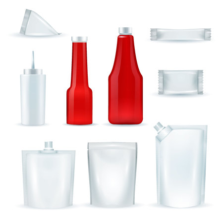 Sauce red and white blank identity plastic packing pouches packages bottles dispenser realistic isolated items set vector illustration