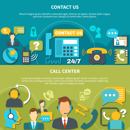 Horizontal banners with call center and contact us isolated on turquoise and green background vector illustration.