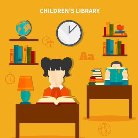 Childrens library with boy and girl during reading books, interior elements composition on yellow background vector illustration