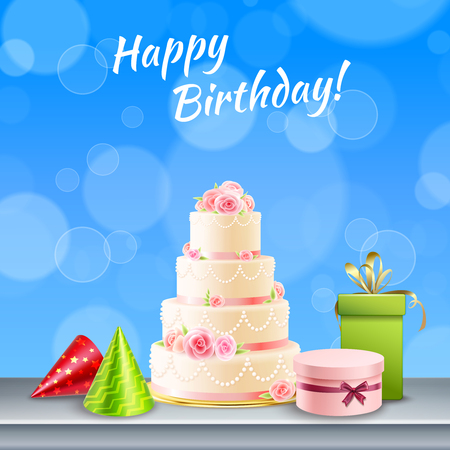 Happy birthday card with cake presents, cone hats on blue bubbled background