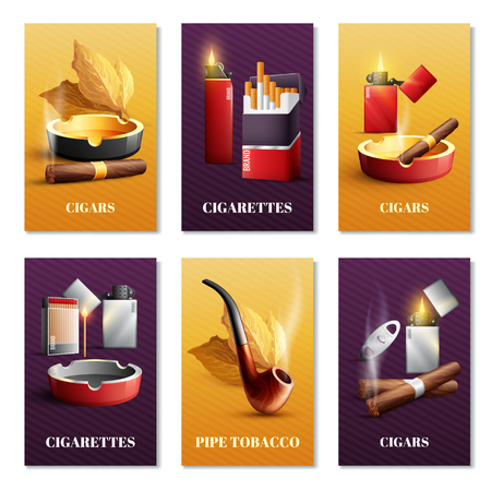 Tobacco products realistic cards set with pipe and cigars symbols