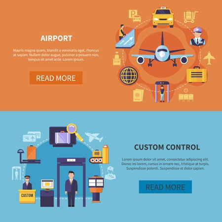 Airport elements and custom control horizontal banners set on colorful background flat isolated vector illustration