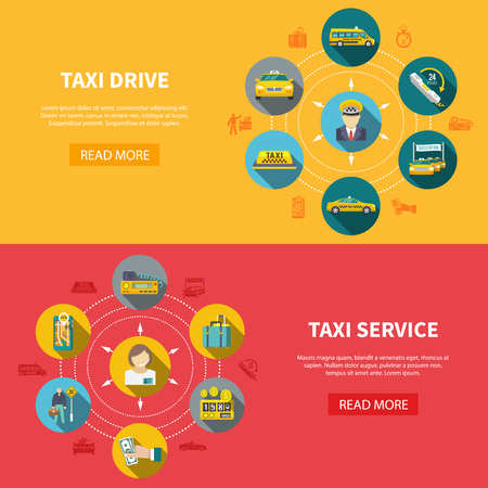 Set of two taxi horizontal banners with read more button text and round taxicab drive icons vector illustration