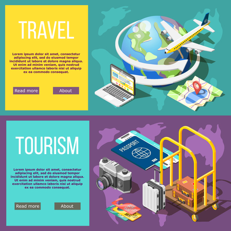 Travel and tourism horizontal banners booking tickets air travel hotel services active tourism adventure around world  isometric vector illustration    向量圖像