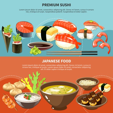 Two colored sushi colored banner set with premium sushi and Japanese food descriptions vector illustration