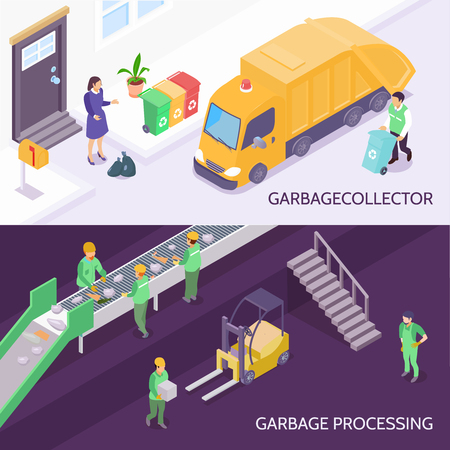 Set of horizontal isometric banners with garbage collector and refuse truck, waste recycling isolated vector illustration Banque d'images - 95889380
