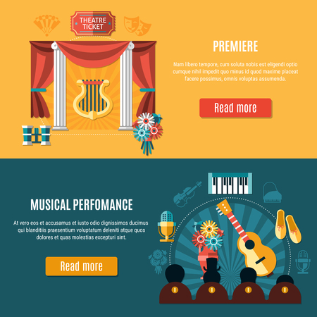 Theater banner set with premiere and musical performance headline and read more buttons vector illustration. Illustration