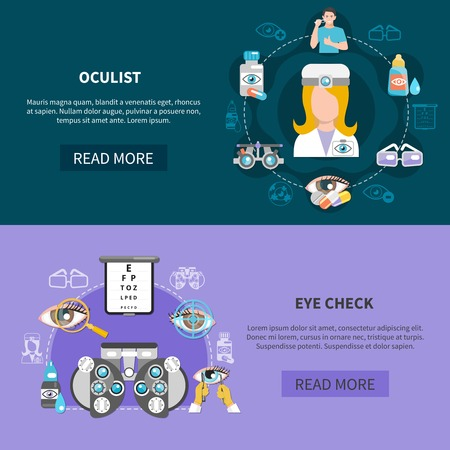 Oculist 2 horizontal banners webpage design with complete eye examination and visual problems diagnostic isolated vector illustration 版權商用圖片 - 95914834